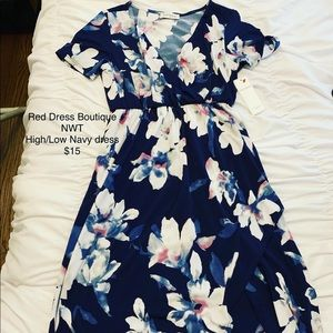 Navy Floral high/low dress